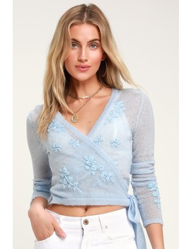 My Treasure Light Blue Sheer Embroidered Wrap Sweater Top by Lulus