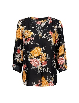 Black Floral Print Roll Sleeve Blouse by Dorothy Perkins