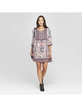 Women's Floral Print 3/4 Sleeve Crew Neck Shift Midi Dress   Knox Rose™ Ivory by Knox Rose