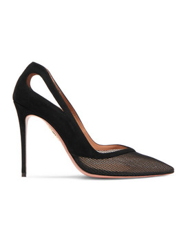 Shiva 105 Cutout Mesh And Suede Pumps by Aquazzura