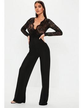 Black Lace Long Sleeve Wide Leg Jumpsuit by Missguided