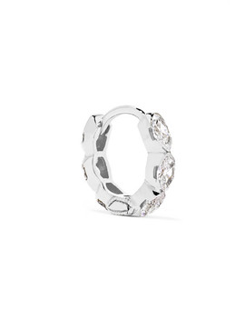 Invisible Eternity 6.5mm 18 Karat White Gold Diamond Earring by Maria Tash