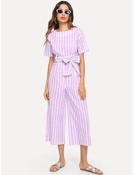 Striped Romper With Belt by Sheinside