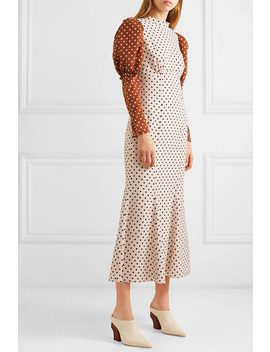 Sibylle Draped Two Tone Polka Dot Crepe Midi Dress by Rejina Pyo