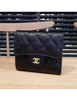 Chanel Timeless Classic Compact Wallet Caviar Matrasse Auth From Japan F/S by Chanel