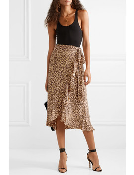 Celeste Ruffled Leopard Print Crepe Wrap Skirt by Faithfull The Brand