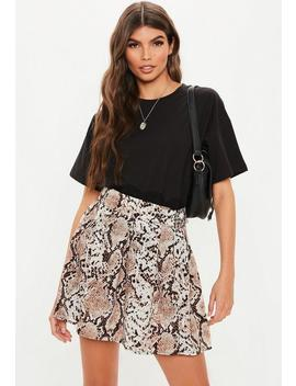 Stone Snake Print Pleated Mini Skirt by Missguided