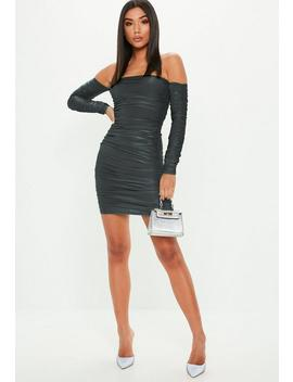 Gray Slinky Bardot Ruched Mini Dress by Missguided