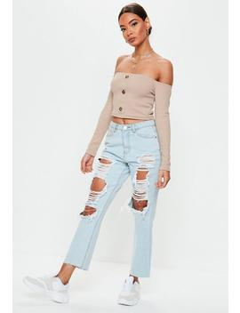 Sand Horn Button Bardot Crop Top by Missguided