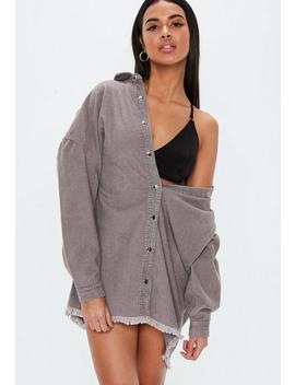 Gray Oversized Cord Raw Hem Shirt Dress by Missguided