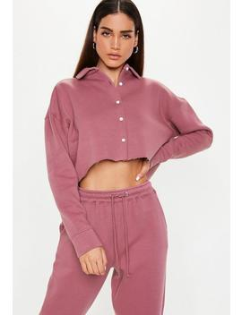 Mauve Button Front Crop Sweater by Missguided