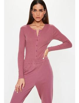 Mauve Ribbed Button Front Bodysuit by Missguided