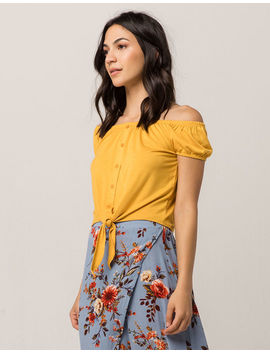 Sky And Sparrow Tie Front Mustard Womens Off The Shoulder Top by Sky And Sparrow