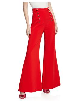 James High Rise Flare Pants W/ Button Details by Likely