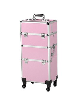 Yaheetech Beauty Cosmetic Makeup Case On Wheels For Nail Stuff Pink by Yaheetech