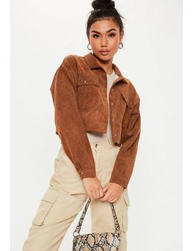 Tan Cord Button Up Shirt by Missguided