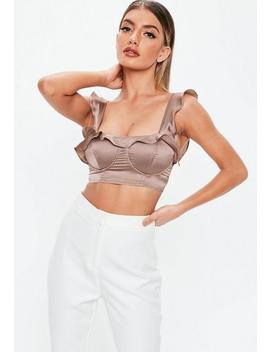 Brown Satin Ruffle Bralet by Missguided