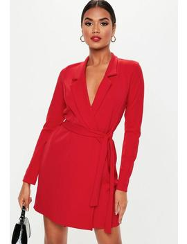 Red Long Sleeve Blazer Dress by Missguided