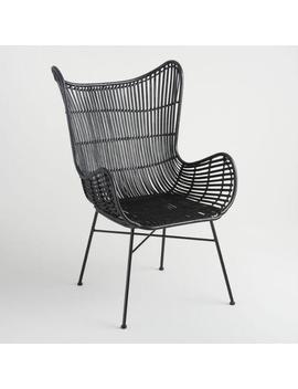 Black Rattan Willis Wingback Chair by World Market
