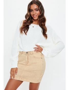 Sand Superstretch Denim Skirt by Missguided