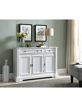 Kings Brand Furniture White Finish Wood Buffet Breakfront Cabinet Console Table With Storage, Drawers, Shelves by Kings Brand Furniture