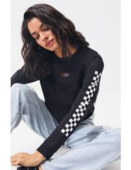 Vans Flying Checkered Long Sleeve Cropped T Shirt by Pacsun
