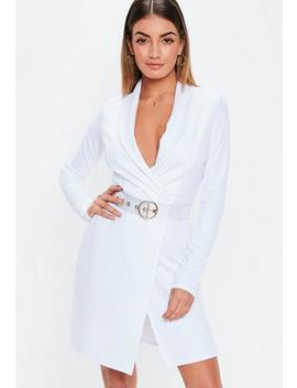 Tall White Long Sleeve Blazer Dress by Missguided