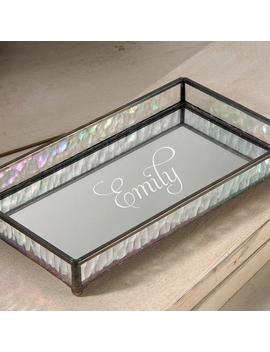 Personalized Glass Vanity Tray With Iridescent Stained Glass Sides And Mirrored Glass Bottom Dresser Jewelry Organizer Perfume Tra 101 Et201 by Etsy