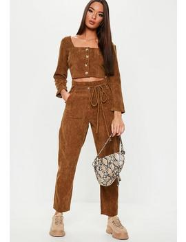 Chocolate Cord Tie Waist Co Ord Trousers by Missguided