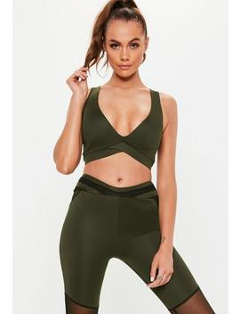 Active Khaki Cross Front Sports Bra by Missguided