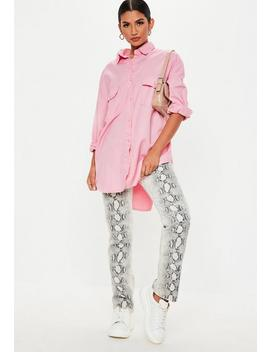 Pink Denim Super Oversized Boyfriend Shirt by Missguided