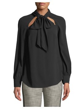 Teel Tie Neck Cutout Long Sleeve Blouse by Neiman Marcus