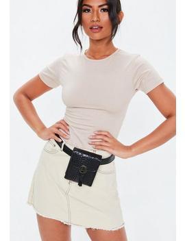 Black Faux Snake Detail Belt Bag by Missguided