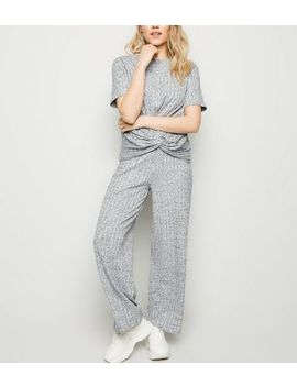 Petite Grey Marl Ribbed Wide Leg Joggers by New Look