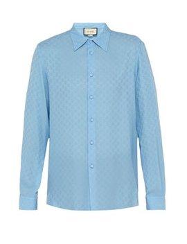 Gg Supreme Print Silk Crepe Shirt by Gucci