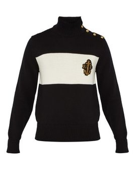 Logo Embroidered Cotton Blend Sweater by Ralph Lauren Purple Label