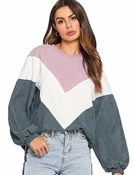 Romwe Women's Loose Colorblock Sweatshirt Lantern Sleeve Round Neck Pullover Tops by Romwe
