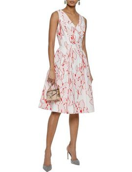 Flared Fil Coupé Cotton Blend Dress by Carolina Herrera