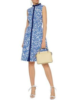 Gathered Printed Stretch Cotton Poplin Dress by Oscar De La Renta