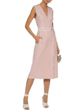 Wrap Effect Striped Poplin Dress by Jason Wu