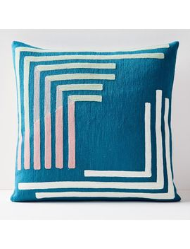 """Crewel Concentric Angles Pillow Cover, Blue Teal, 18""""X18"""" by West Elm"""