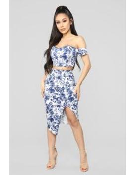 Floral Fiesta Skirt Set   Blue/White by Fashion Nova
