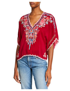 Klarah V Neck Embroidered Georgette Top W/ Lace Trim by Johnny Was