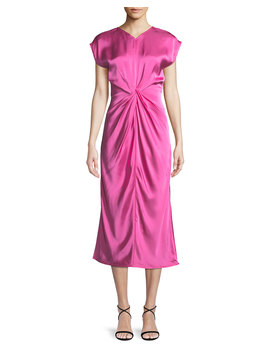 Twisted Front Satin Midi Dress by Neiman Marcus