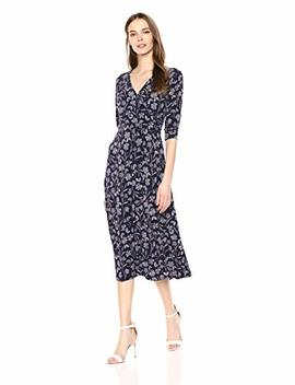 Chaus Women's 3/4 Slv Etched Floral Wrap Dress by Chaus