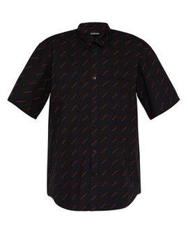 Logo Print Short Sleeved Cotton Poplin Shirt by Balenciaga