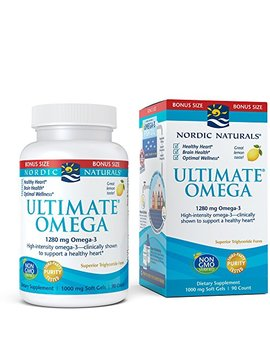 Nordic Naturals Ultimate Omega Soft Gels   Concentrated Omega 3 Burpless Fish Oil Supplement With More Dha & Epa, Supports Heart Health, Brain Development And Overall Wellness, Lemon Flavor, 90 Count by Nordic Naturals