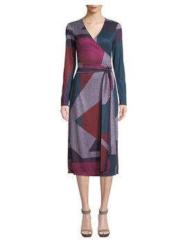 Ellie Colorblock Long Sleeve Wrap Dress by Neiman Marcus