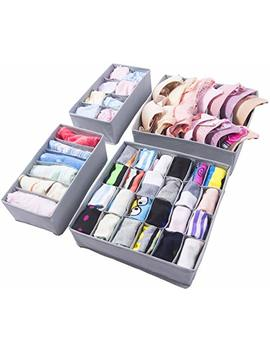 Amelitory Underwear Organizer Drawer Divider Foldable For Bras Panties Socks Ties 4 Set Gray by Amelitory