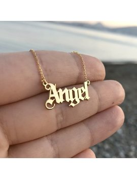 Old English Name Necklace    Gothic Name Necklace   Custom Name Necklace   Old English Letter Necklace   Sterling Silver  Gold Name Necklace by Etsy